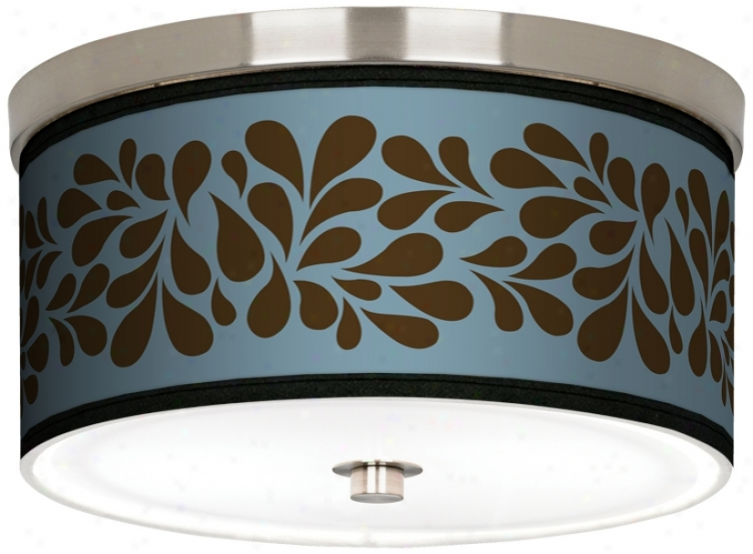 "Olive Splasb On Blue Nickel 10 1/4"" Wids Ceiling Light (j9214-k1635)"