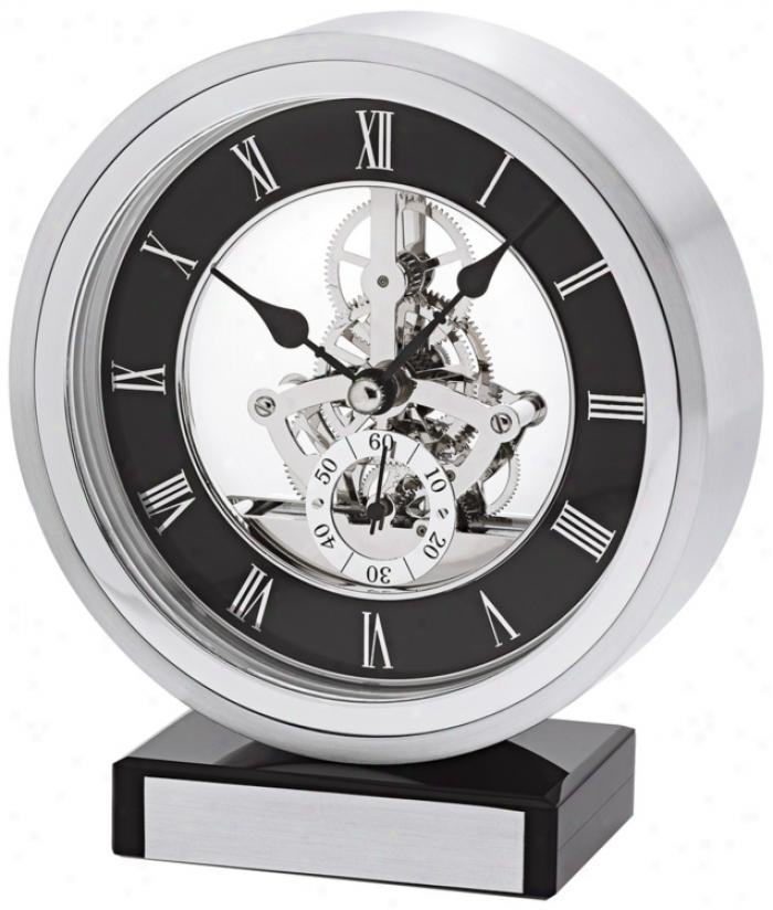 "Omni Brushed Aluminum 6 1/4"" High Bulova Mantel Clock (v1949)"