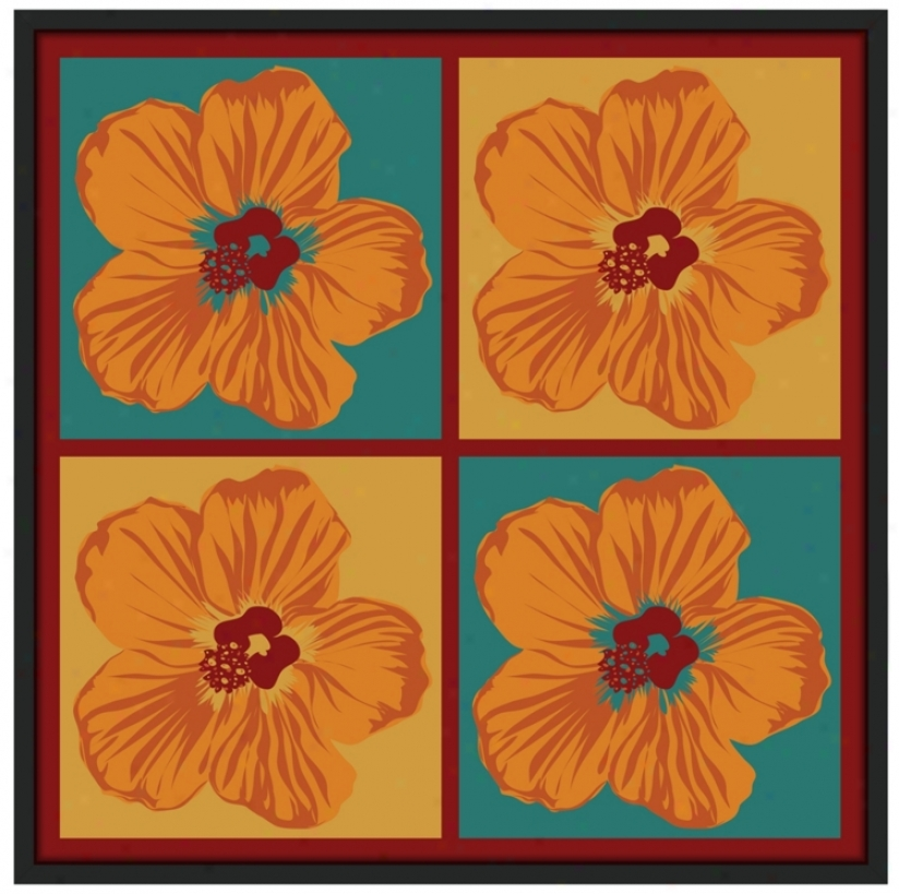 "Orange Hibiscus 37"" Square Black Giclee Wall Skill (n7116)"