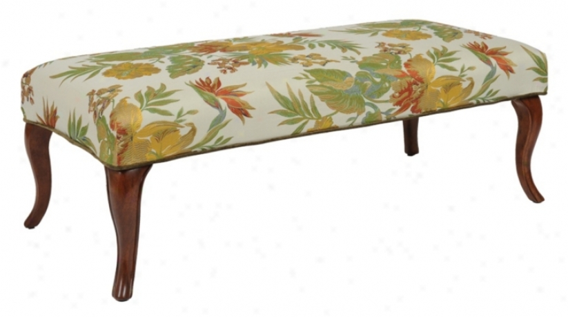 Orchid Slipcovered Walnut Cabriole Leg Upholstered Bench (m5115-m5128)
