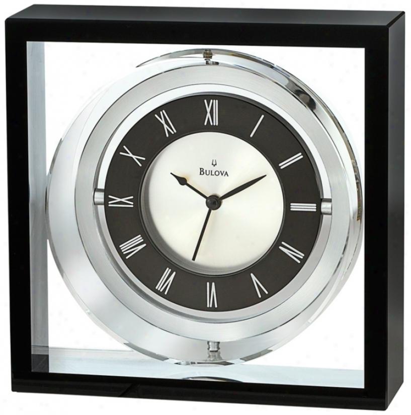 "Orion Crystal Case 5 1/4"" Square Bulova Executive Clock (v1979)"
