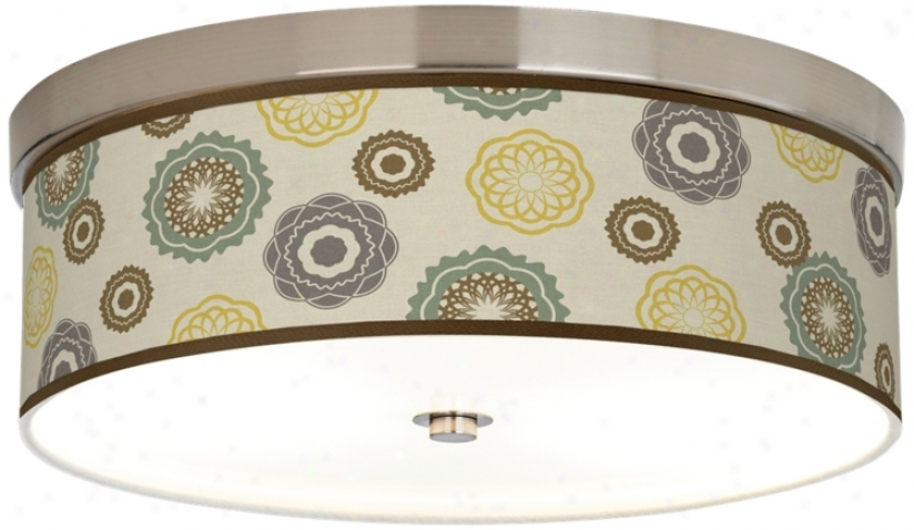 """Ornaments Linen Giclee Nickel 14"""" Wide Cfl Ceiling Light (h8796-t6542)"""