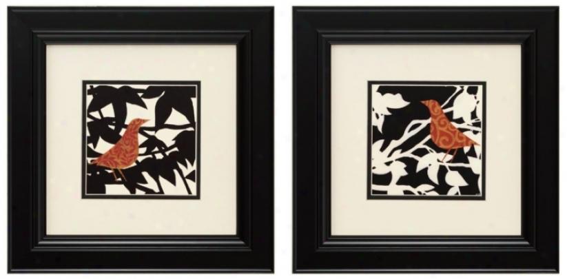 "Ornate Bird I And Ii 14"" Square Framed Wall Art (p2270)"