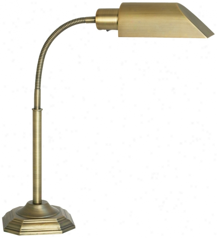 Ott-lite Alexabder Brass Energy Saving Gooseneck Desk Lamp (74768)