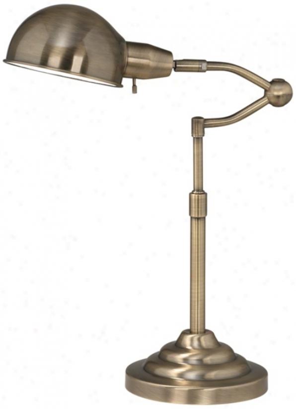 Ott-lite Ashley Antique Brass Adjustabls Desk Lamp (u7306)