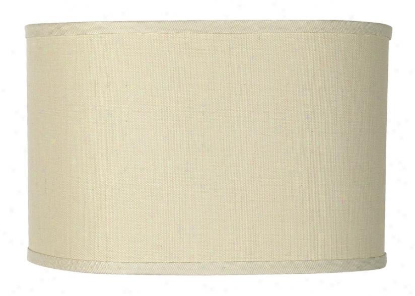 "Oval Hardback Natural Linen Shade 15x15x10"" (spider) (96003)"