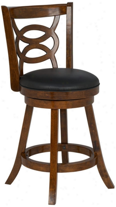 "Oval Lattice Cherry Wood Faux Leather 30"" High Bar Stool (u6432)"