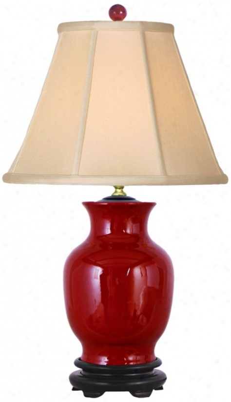 Oxblood Red Sculpted Vase Porcelain Table Lamp (v2513)