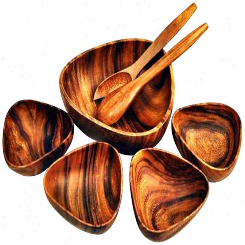 "Pacific Merchants Acaciaware 7-piece 12"" Bermuda Bowls Set (w2518)"