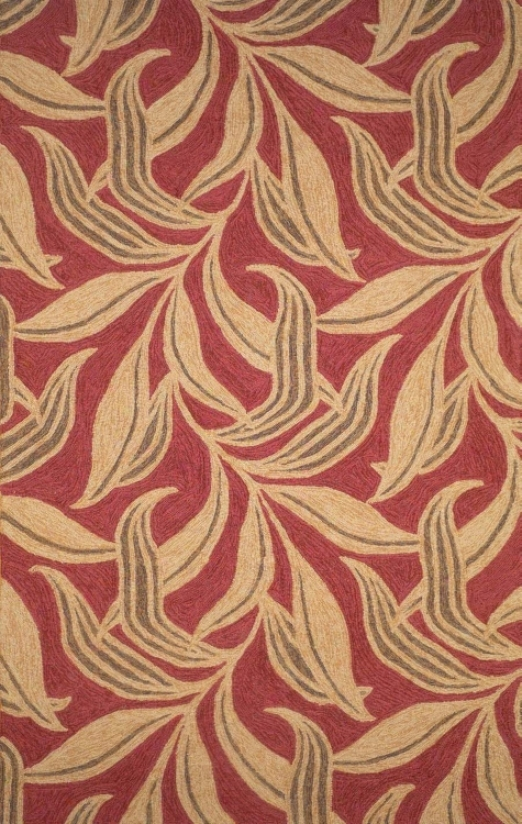 "Painted Leaves Red 1' 11""x7' 10"" Area Rug (f7610)"