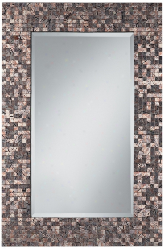 "Painted Line Strokes Mosaic 35"" High Rectangular Wall Mireor (v0426)"