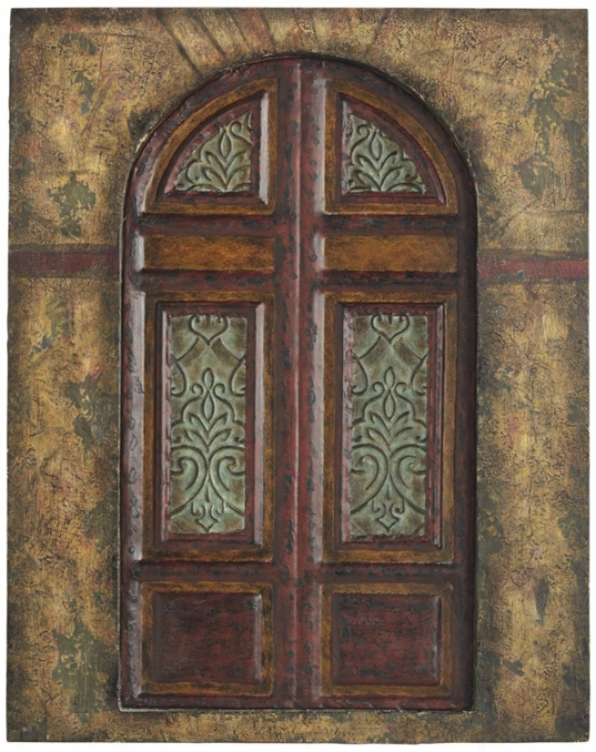 "Painted Metal Door 20"" High Wall Art (r2938)"