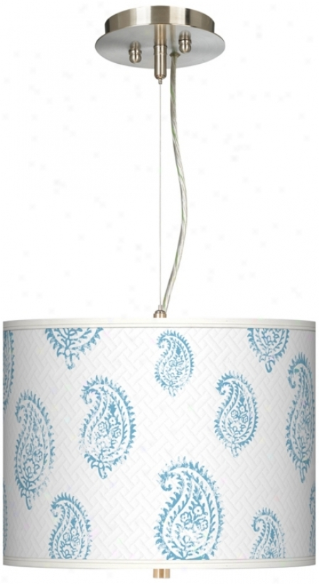"Paisley Snow Giclee 13 1/2"" Wide Drum Pendant Chandelier (17374-t5253)"