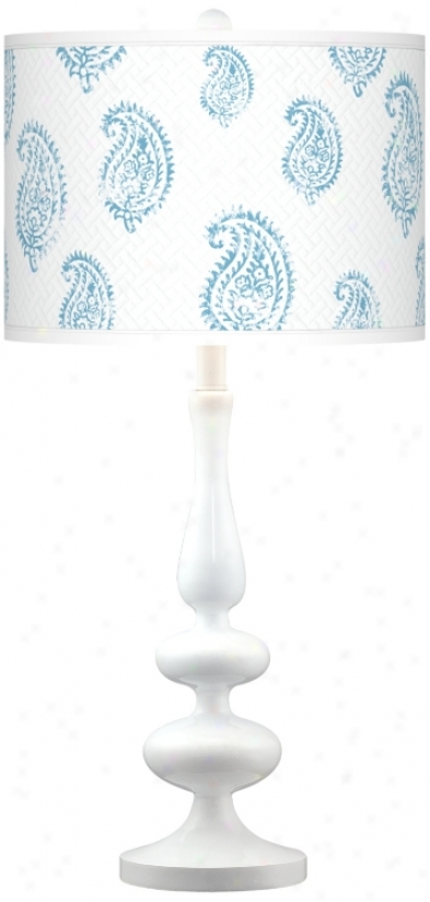 Paisley Snow Giclee Paley White Table Lamp (n5729-t5847)