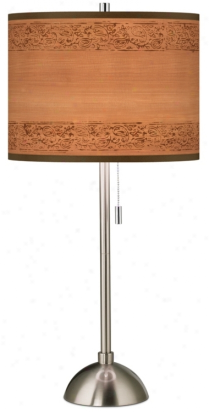 Paisley Trim Brushed Steel Contemporary Table Lamp (60757-t3840)