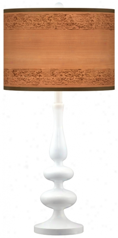 Paisley Clip Giclee Paley White Table Lamp (n5729-t3848)