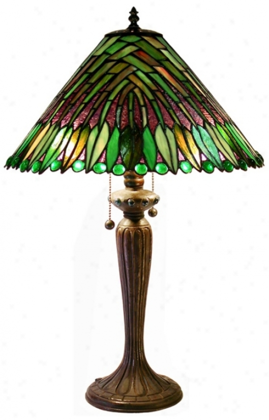 Impose  Leaf Tiffany Stle Table Lamp (j6799)