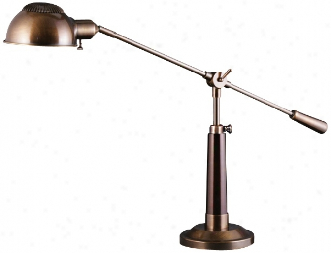 Palomar Dark Antique Brass And Mahogany Pharmacy Desk Lamp (u9259)