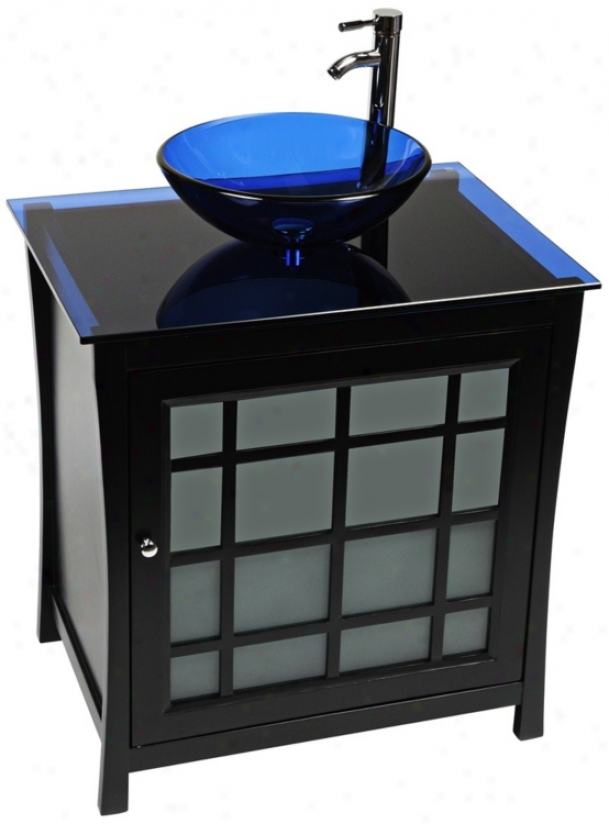 Panache Cobalt Blue Glass Contemporary Vanity (r9129)