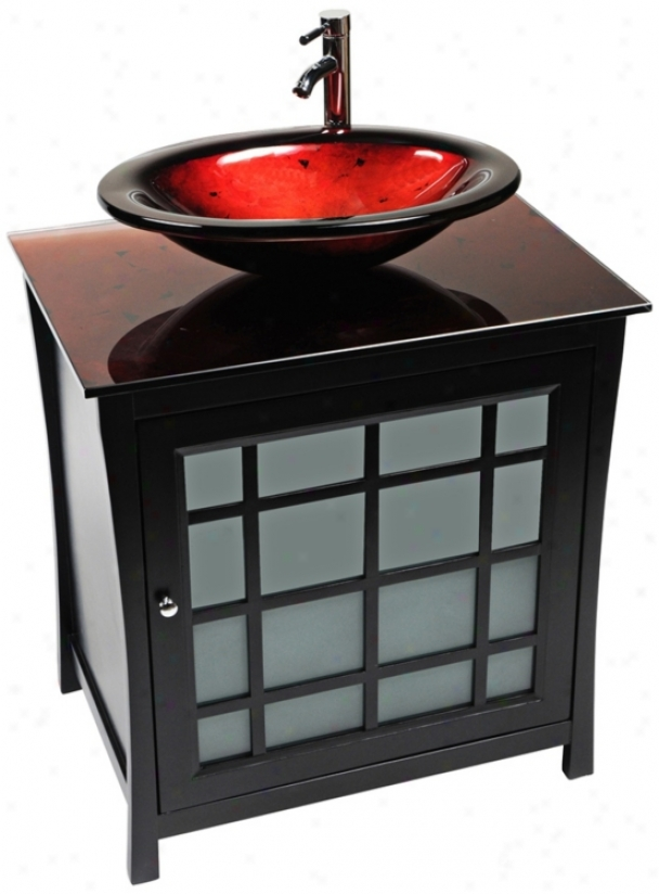 Panache Red Lava Glass Contemporary Vanity (r9135)