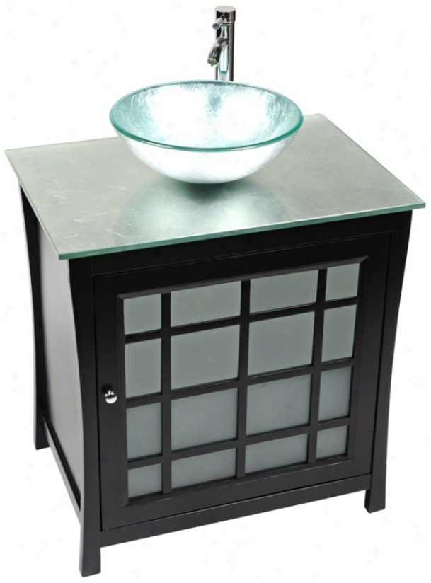 Panache Silver Foil Glass Contemporary Vanity (r9137)