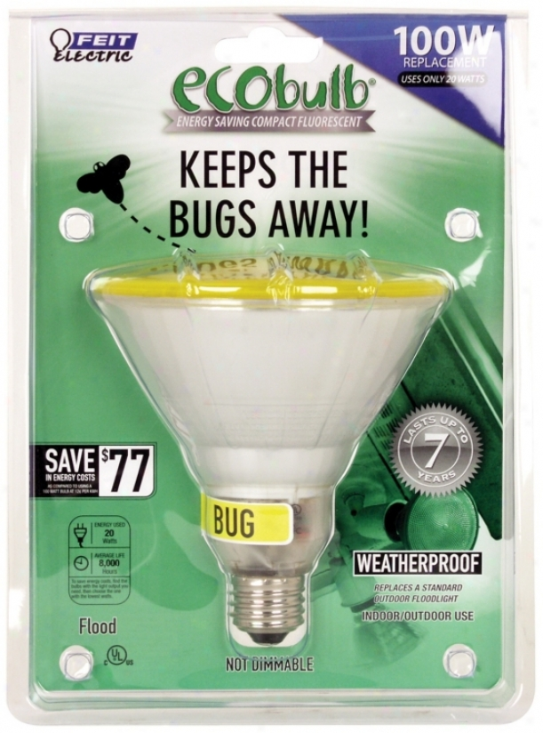Par38 23 Watt Yellow Outdoor Flood Cfl Bulb (24332)