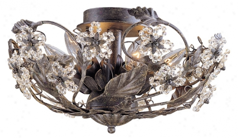 "Paris Flea Market  16"" Wide Rust Crystal Ceiling Fixture (08852)"