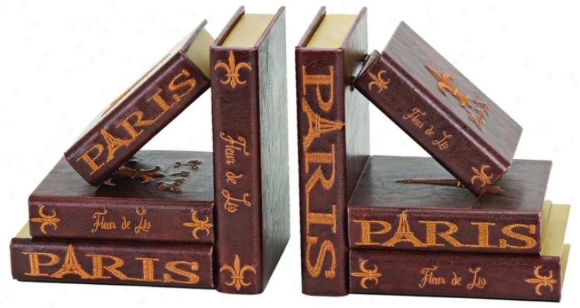 Paris Fleur-de-lis Leather Bookends (u8827)