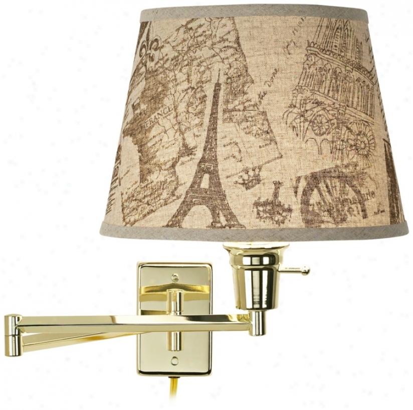 Paris Impressions Polished Brass Plug-in Scope Arm Wall Lamp (79553-r5815)