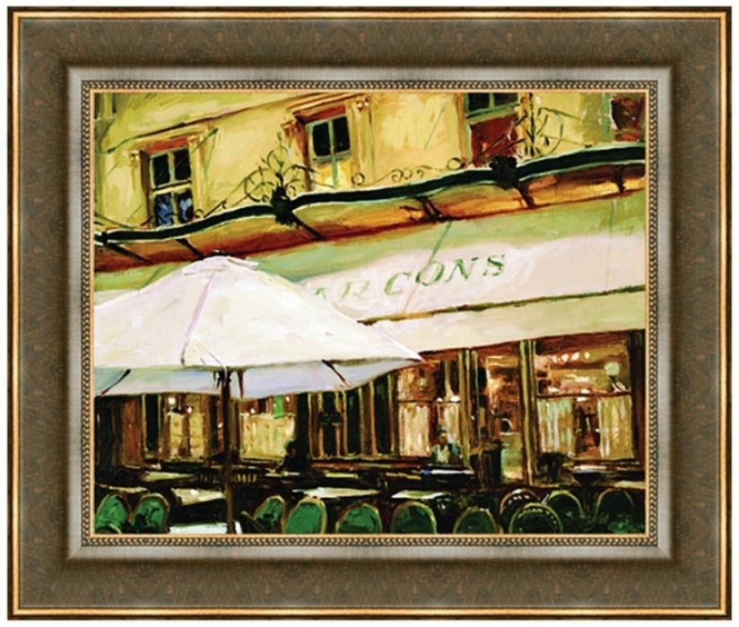 "Paris Darkness Cafe 26"" Wide Wall Art Print (j5892)"