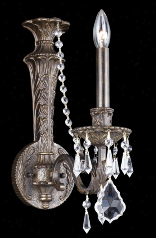 "Parisian Iron And Crystal 15"" High One Light Wall Sconce (y6515)"