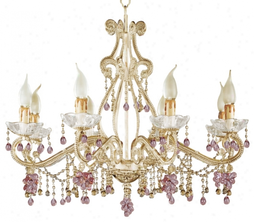Parisian Rosa Crystals Eight Light Chandelier (85280)