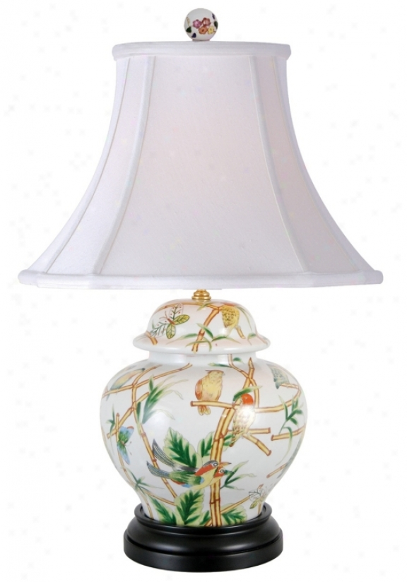 Parrots In Bamboo Porcelain Jar Table Lamp (g7045)