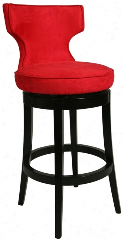 "Pastel Augusta Red Swivel 30"" High Bar Stool (p6421)"