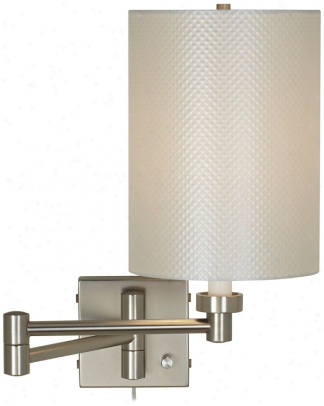 "Pearlescent Shade 20"" Brushed Steel Plug-in Swing Arm Lamp (20762-t7001)"