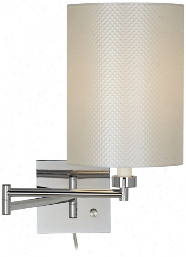 "Pearlescent Shade 20"" Chrome Plug-in Swing Arm Wall Lamp (79404-t7001)"