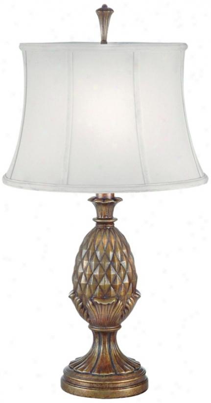 Pedestal Pineapple Honey Brass Finish Table Lamp (j6554)