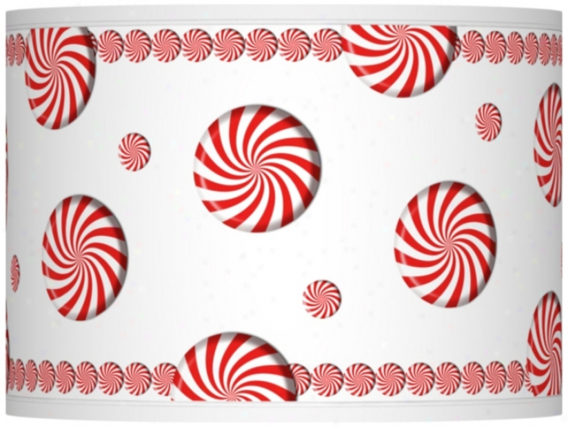 Peppermint Pinwheels Giclee Drum Shade 13.5x13.5x10 (spider) (37869-t6627)