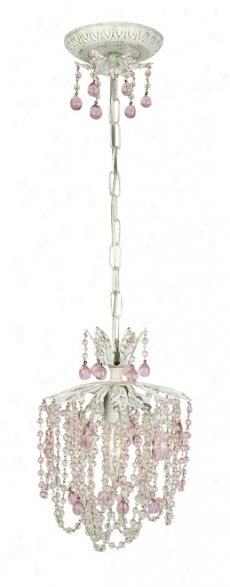 Petite Pink Drop Crystal Pendant Chandelier (62761)