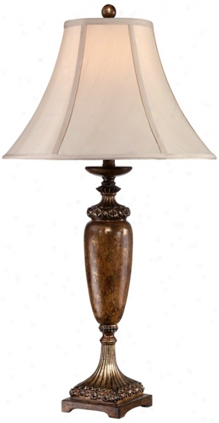 Petite Vase With Light Tan Shade Bronze Table Lamp (v0800)
