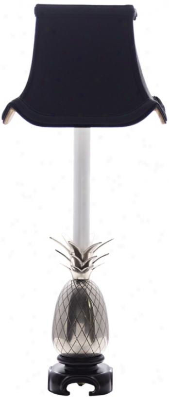 Pewter Pineapple Black Shade Table Lamp (j8899)