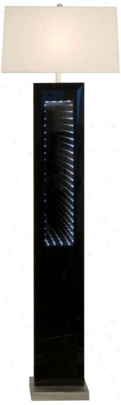 Phantom Black Glass Infinity Mirror Nova Floor Lamp (u9356)