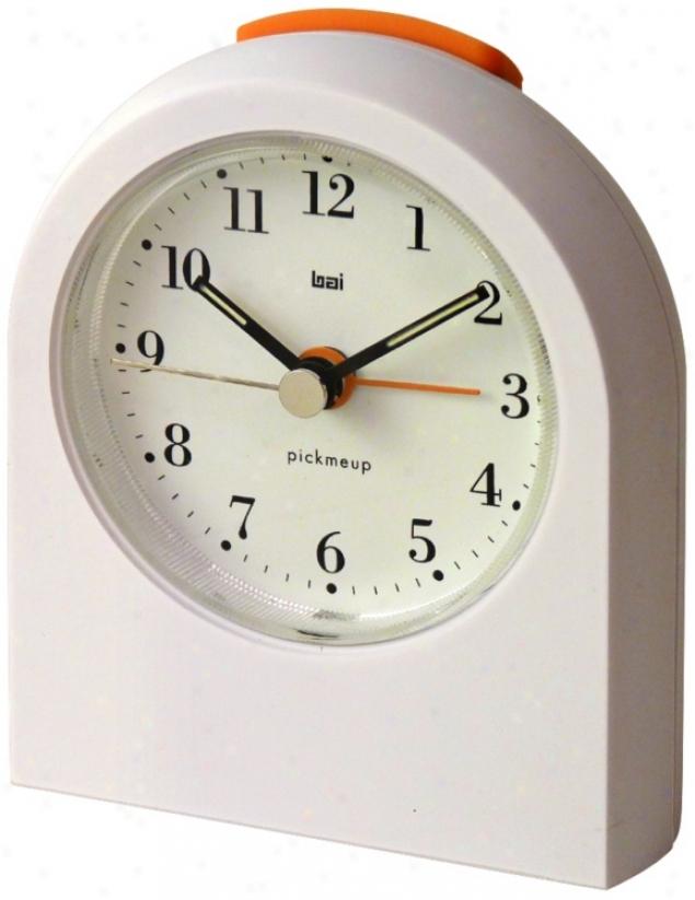 Pick-me-up Bodoni White Alarm Clock (v8601)