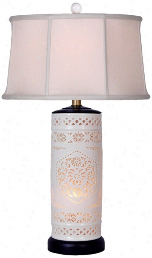 Pierced Bone China With Drum Shade Night Light Table Lamp (v2462)