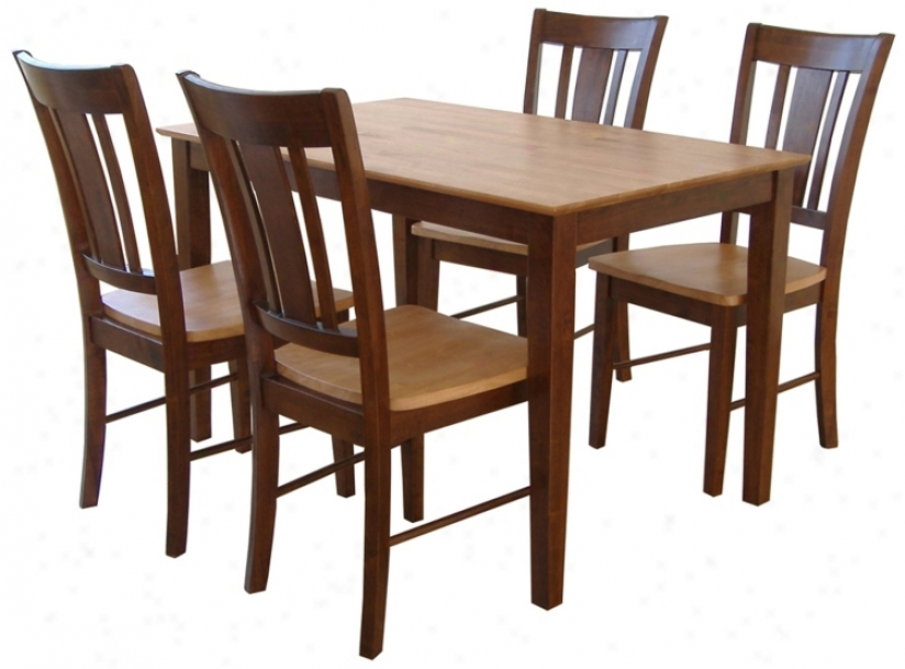 Pine And Oak Dining Table And 4 Chairs Set (u4346)