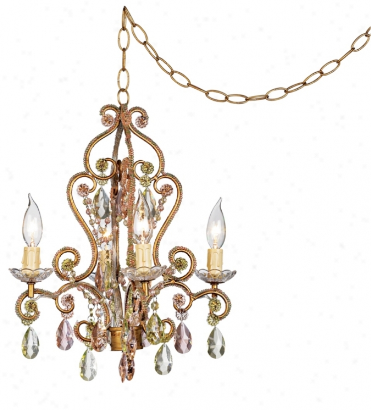 Pink And Citron Swag Plug-inS tyle 4-lgiht Chandelier (35695)