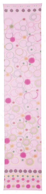 Pink Silk Contemporary Circles Lsmp Shade Scarf 13x70 (39727)