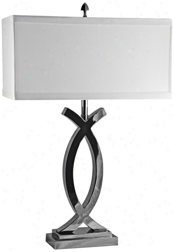 Pisces Polished Nickel With Cotton Shade Table Lamp (v1810)