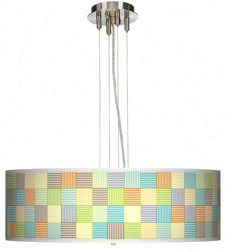 Pixel Light Giclee 24&qutp; Wide Four Light Pendant Chandelier (17276-k7980)
