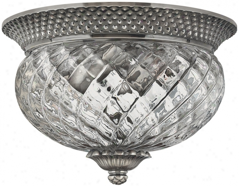 "Plantation Collection Antique Nlckel 12"" Wide Ceiling Light (k3276)"